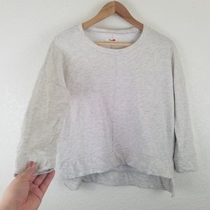 Madewell Ivory Gray High-Low Pullover Sweater A1